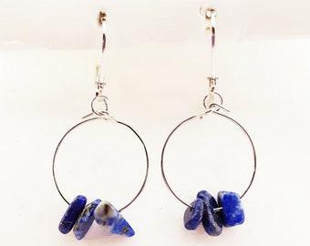 Raw gemstone earrings, raw gemstone beads, raw gemstone jewelry, small hoop earrings, hoop earrings with stones, hoop earrings with beads