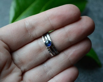 Kyanite Stacker Ring Set in Sterling Size 8