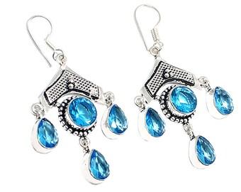 Beautiful !!! Swiss Blue Quartz 925 Sterling Silver Gemstone Jewelry Earring