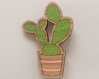 Wood laser cut brooch prickly pear cactus light green and peach