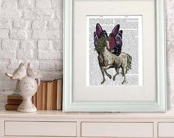 Gift for Horse Lover Horse and Butterfly Wings equine print equine gift equine art equine poster horse poster stallion wall art horse art