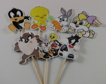 Baby Looney Tunes Cupcake Toppers, Baby Looney Tunes Cupcake picks, Baby shower cupcake picks, Baby shower decoration, Baby Shower supplies