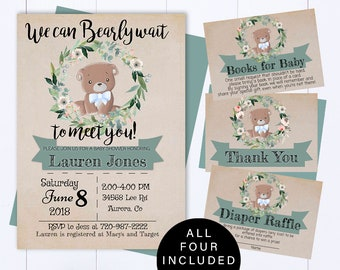 Bear Floral Baby Shower Invitation Bear Baby Shower Invite Woodland Baby Shower Invitation Teddy Bear Baby Shower Teddy Bear Invitation