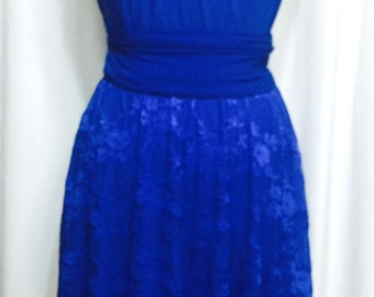 Tailored to Size & Length Infinity Dress  lace skirt in royal blue color  WITH TUBE TOP wrap dress Convertible/Infinity Dress