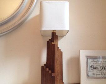 Hand-made Walnut Wood Art-Deco Spiral Table Lamp