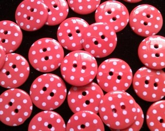 30pcs Cute retro Buttons 15 mm red