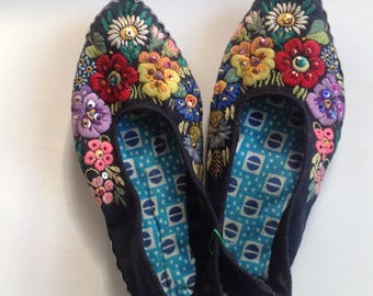 Embroidered folk slippers, Estonia