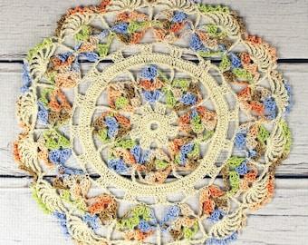 "Crocheted Cream Orange Peach Lavender Tan Lime Table Topper Doily - 10 1/2"""