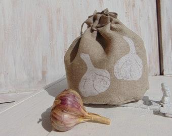 Natural linen bag, small storage, fabric, gift bag, produce bag, reusable, 4x5 inch, kitchen, garlic
