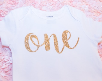 Ready2Ship 1st Birthday 12 Months Bodysuit Outfit Carter's Gold Glitter One Girl's Baby Photos Pictures Smash Cake