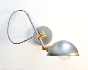 "Wall Lamp - Sconce -  Bedside Lamp - Adjustable Extension Boom Light - Articulating Industrial Brass & Steel Scissor Lamp -  the ""Bonwit"""