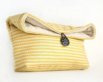 Handmade Makeup Bag, Cream Yellow Clutch Purse, Spring Wedding Accessory, Great for Travel, Bridesmaid Gift
