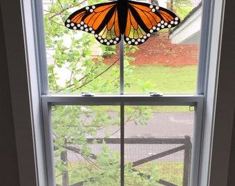 Handmade Monarch butterfly stained glass suncatcher panel