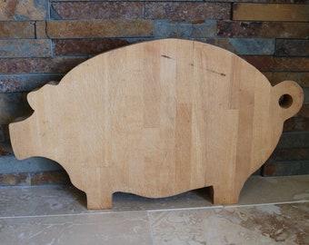 Pig cutting board, primitive pig shaped cutting board, wooden pig cutting board, sandwich board, cheese board, folk art pig, heavy wood pig