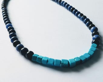 """Mens sodalite and blue magnesite gemstone choker style necklace 18"""""""