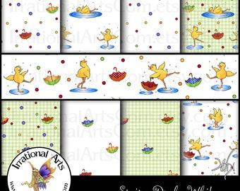 Spring Ducks Whites Digital Scrapbooking Papers  INSTANT DOWNLOAD 9 jpg files 300dpi
