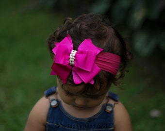 Baby Headband Headwrap, Hot Pink Baby Headband, Newborn Headband, Photography Prop, Nylon Headband, Pink Bow Headband, Big Bow Headband, 906