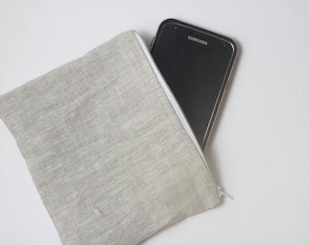 Linen Zipper Pouch   Cosmetic Bag