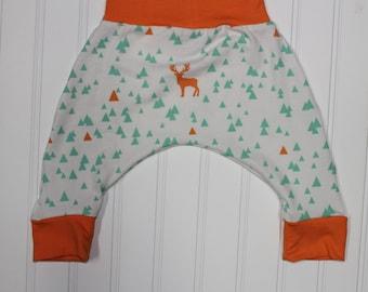 3-6m, Orange Mint Triangle Stag Harem Pants, Gender Neutral Baby and Kids Harem Pant Leggings