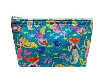 Mermaids Glitter Print Go Bag // Makeup Bag // Cosmetic Organizer // Travel Organizer // Toiletry Organizer // Ready To Ship