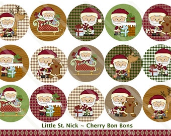 Little St. Nick 1 Inch Circles Collage Sheet for Bottle Caps, Hair Bows, Scrapbooks, Crafts, Jewelry & More