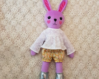 Easter bunny, Bunny girl doll,  yellow bunny, bunny softie, rabbit girl softie, bunny doll, handmade bunny doll, girl doll, animal doll
