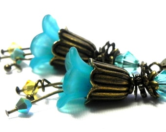 Turquoise Tulip Flower Earrings - Antique bronze tulip bead caps - Aqua and Yellow Swarovski crystals