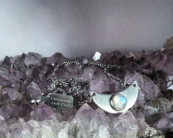Necklace. Crescent Moon Stainless Steel Rainbow Moonstone Pendant. Unique gift for outer space girl
