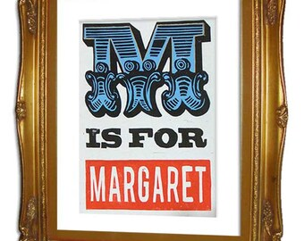 M is for Margaret Hand printed Linocut Poster