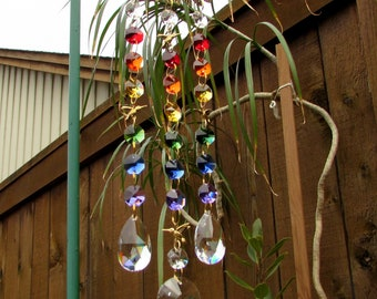 Rainbow Crystal Prism Suncatcher, Leaf, Humingbirds, 3S-5