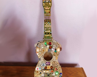 Costume Jewelry Collage Ukulele - Original Assemblage Art Piece - Rhinestones, Old Brooches and Earrings - Music Themed - 3-D Sculptural