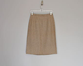 Vintage 70s high waist brown houndstooth pencil midi skirt // Size XS /S