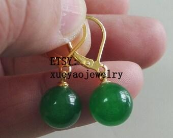 jade earrings, green jade earrings, 10 mm jade lever back earrings