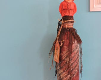 PEASANT - Air dry clay statue - decorated wine bottle