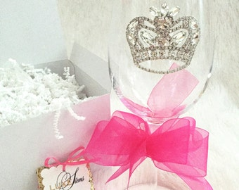 Belle  ..Crystal wine glass adorned with a rhinestone crown. Perfect for  Weddings, Toasting, Bridesmaids, Showers, Graduation,Birthdays,