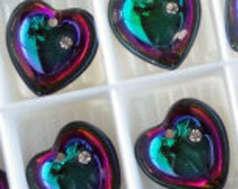 2pc - 16mm RARE Swarovski Crystal ELECTRA Heart Pendants Charms Drops Style 6221/5 With Stone