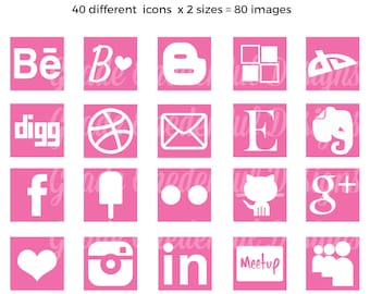 Social Media Icons, Square Social Icons, Social Media Buttons, Social Media Images, Pink Social Icons, Blog Buttons, Vector Icons