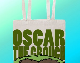 Oscar the grouch Sesame Street - Reuseable Shopping Canvas Tote Bag