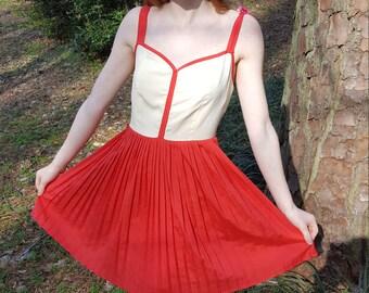 Handmade Coral and Cream Dress