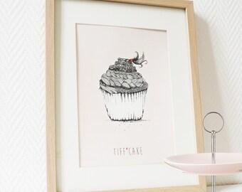 Cupcake braid tiff'cake pink girly cute poster foodart offbeat US LETTER