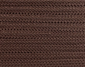 Brown Scroll Gimp - Chocolate Brown French Gimp - Conso Scroll Gimp Yardage  - Brown Flat Braid Trim - Brown Trim 7910 - 3 Yards