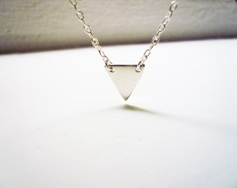 Tiny Silver Triangle Necklace in Sterling Silver - Sweet and Simple Sterling Geometric Pennant Flag Necklace, Triangle Necklace
