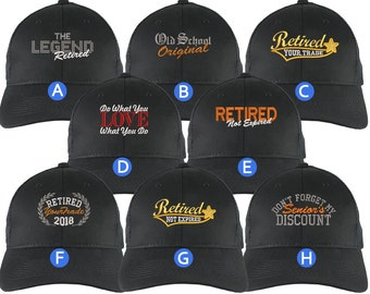 Custom Retirement Embroidery Design on a Black on Black Full Fit Classic Adjustable Trucker Cap 8 Designs to Choose From Some Personalized