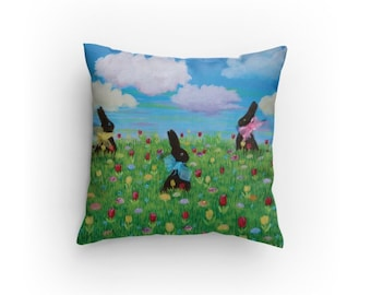 14x14 Pillow, Chocolate Bunnies in a Spring meadow With Colorful Clouds