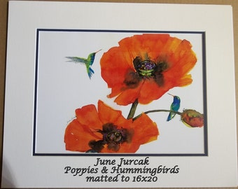 Poppies & Humming Birds, 16x20 matted print by June Jurcak