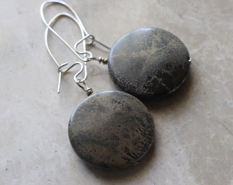 Jasper - Coin Bead - Sterling Silver - Kidney Wire - Drop - Dangle - Earrings
