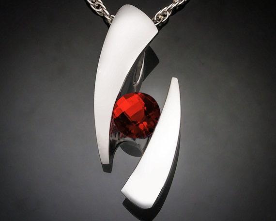 garnet necklace, Mozambique garnet, January birthstone, statement necklace, red gemstone, bold necklace, silver pendant - 3489