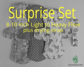 Cloth Pad Set - 3 Cloth Pads Light to Heavy Flow plus Drying Strap/ Handmade/ Eco Friendly/ Reusable/ Incontinence Pad/ Zero Waste