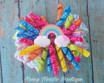 Rainbow hair bow, Rainbow burst hair bow, Rainbow baby hair bow, Rainbow toddler hair bow, Rainbow birthday hair bow, Rainbow birthday