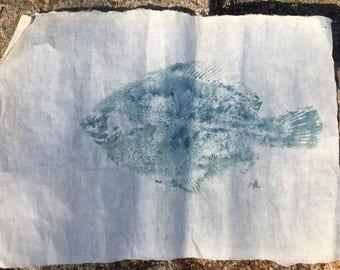 Gyotaku Fish Print Black back Flounder